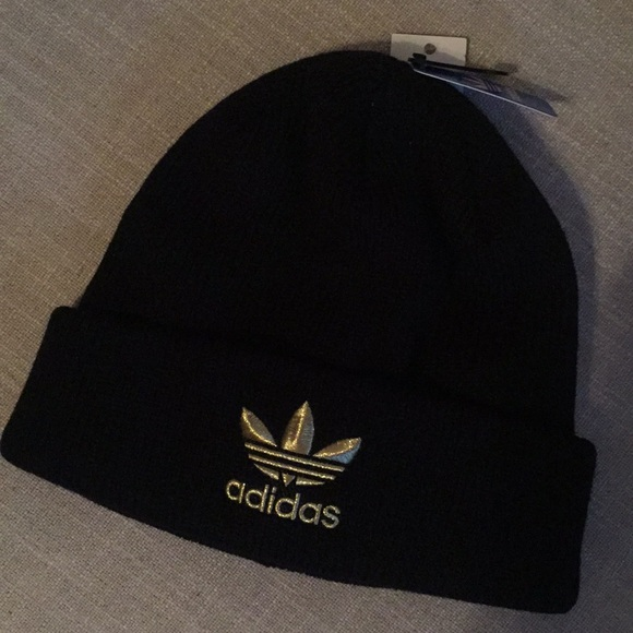 New Adidas Black with Gold Trefoil Knit Beanie Hat 5725871fb41